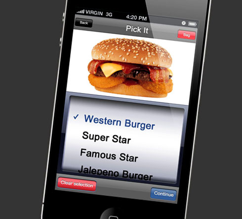 Menu item selection screen for iPhone/iPod Touch